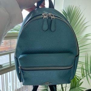 Coach metallic blue mini Charlie Backpack